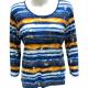 Rabe T Shirt blauw geel met strepen Ladys Club Damesmode